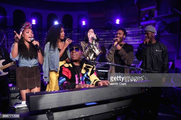 Shelea Kelly Rowland Stevie Wonder Jessie J Donald Glover and Luke James perform onstage during The Stevie Wonder Song Party at The Peppermint Club...