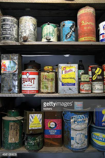 shelf of 80s chemistry canisters - flammable stock photos and pictures