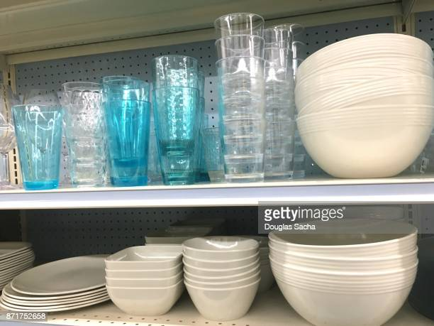 Shelf of various dishes for dinning