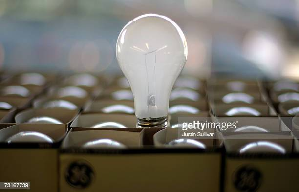 A shelf stocked with incandescent light bulbs is seen at the City Lights Light Bulb Store January 31 2007 in San Francisco California California...