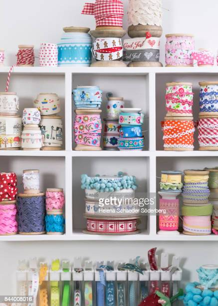 Shelf with large collection of ribbons