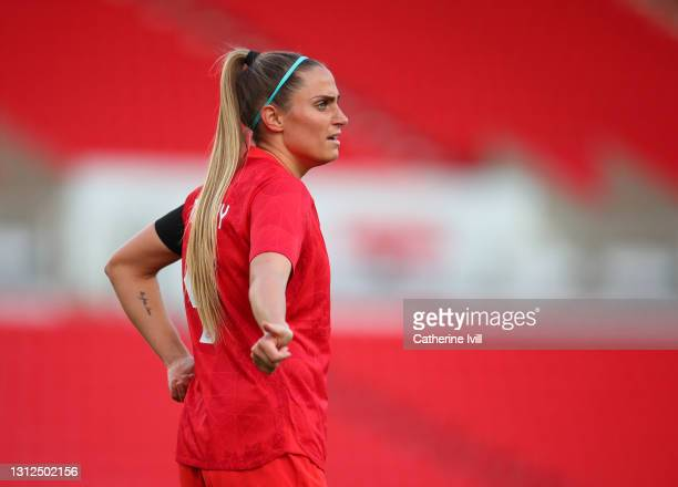 Shelina Zadorsky of Canada during the International Friendly match between England and Canada at Bet365 Stadium on April 13, 2021 in Stoke on Trent,...