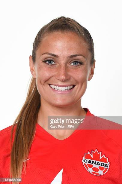 Shelina Zadorsky of Canada poses for a portrait during the official FIFA Women's World Cup 2019 portrait session at Courtyard by Marriott Montpellier...