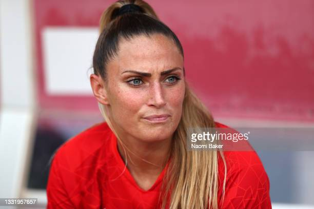 Shelina Zadorsky of Team Canada looks on from the bench during the Women's Football Semifinal match between USA and Canada at Kashima Stadium on...
