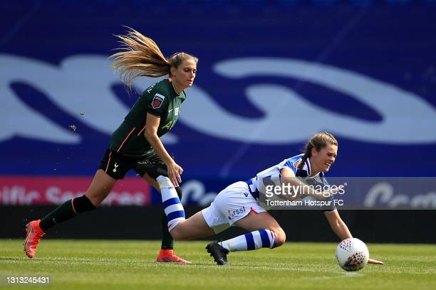 Shelina Zadorsky of Tottenham Hotspur and Emma Harries of Reading during the Vitality Women's FA Cup Fourth Round match between Reading Women and...