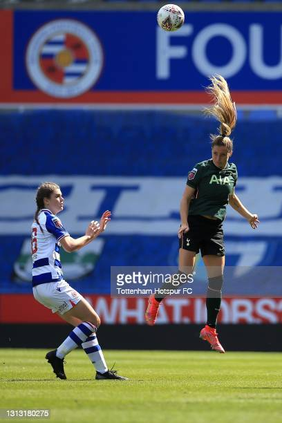 Shelina Zadorsky of Tottenham Hotspur clears the ball during the Vitality Women's FA Cup Fourth Round match between Reading Women and Tottenham...