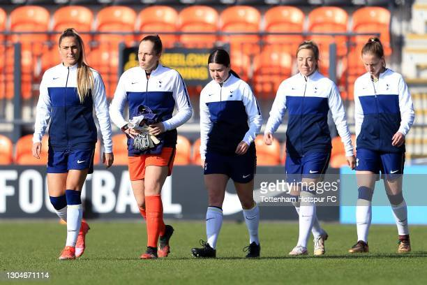 Shelina Zadorsky of Tottenham Hotspur leads out the team during the Barclays FA Women's Super League match between Tottenham Hotspur Women and...