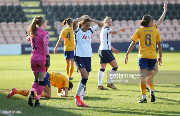 Shelina Zadorsky of Tottenham Hotspur reacts after missing a chance during the Barclays FA Women's Super League match between Tottenham Hotspur Women...