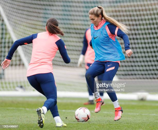 Shelina Zadorsky of Tottenham Hotspur Women during the Tottenham Hotspur Women training session at Tottenham Hotspur Training Centre on March 05,...