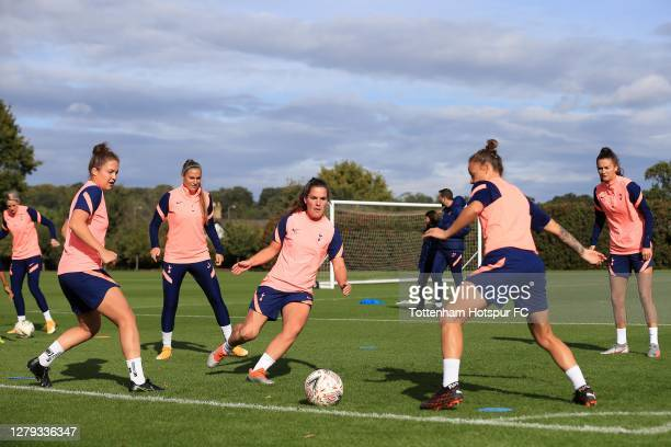 Shelina Zadorsky, Ria Percival, Siri Worm, Rosella Ayane and Hannah Godfrey of Tottenham Hotspur take part in a training session at the clubs'...
