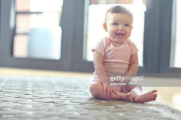 she'll be on her feet in no time! - baby girls stock pictures, royalty-free photos & images
