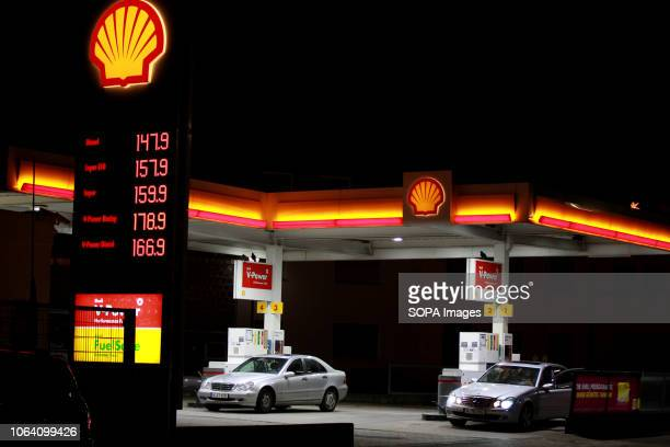 Shell fuel station price sign is seen in Cologne, Germany. Diesel fuel prices are rising nearly as high as super fuel prices. Gasoline prices remain...