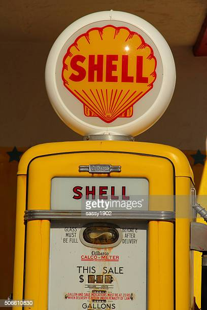 shell gas pump station retro antique - shell brand name stock pictures, royalty-free photos & images