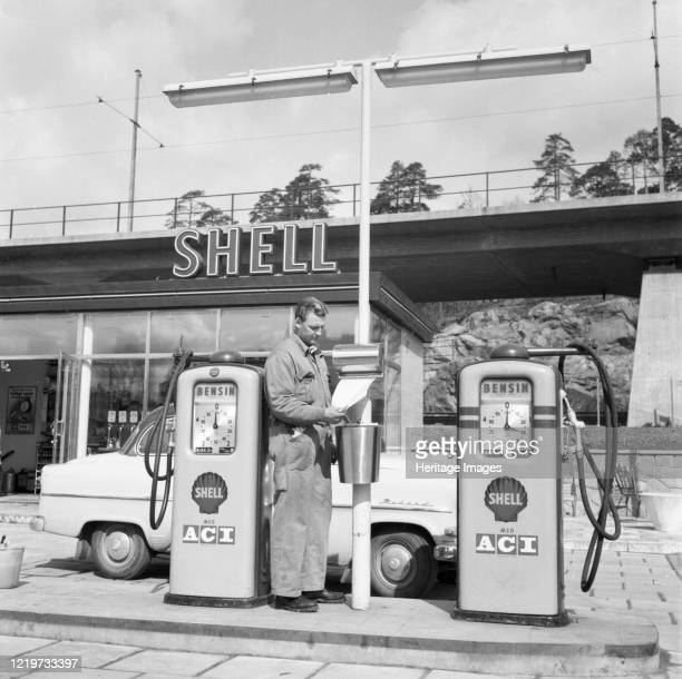 Shell gas station in the Stockholm area, Sweden, 1957. Artist Unknown.