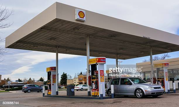 shell gas station - shell brand name stock pictures, royalty-free photos & images