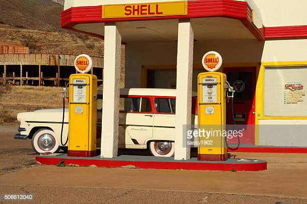 shell gas station retro car antique - shell brand name stock pictures, royalty-free photos & images