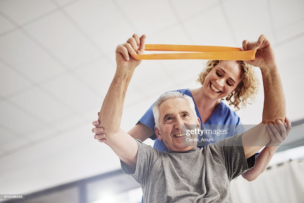She'll have him rehabilitated in no time : Stock Photo
