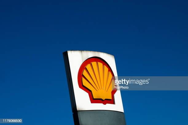 Shell logo is seen near gas station in Krakow, Poland on October 20, 2019.
