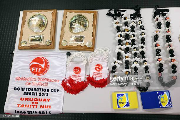 Shell necklaces and match pennants are seen in the dressing room of Tahiti prior to the FIFA Confederations Cup Brazil 2013 Group B match between...