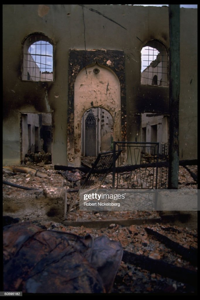 Shell of destroyed, burnt-out mosque (no : News Photo