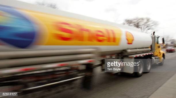 Shell Oil tanker truck moves down a street March 30, 2005 in Mount Prospect, Illinois. The average price of a gallon of regular unleaded gasoline is...