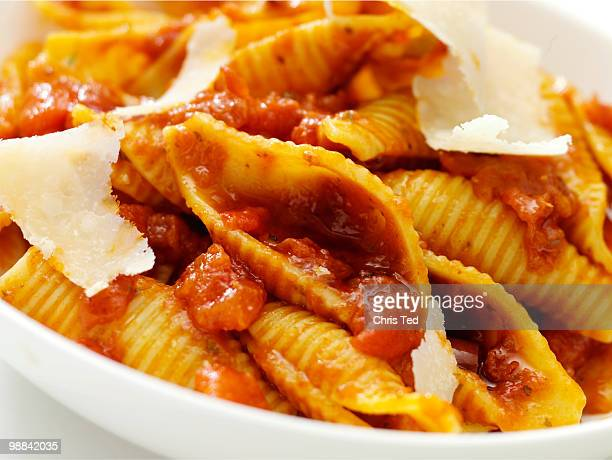 Shell pasta with parmesan shavings on top