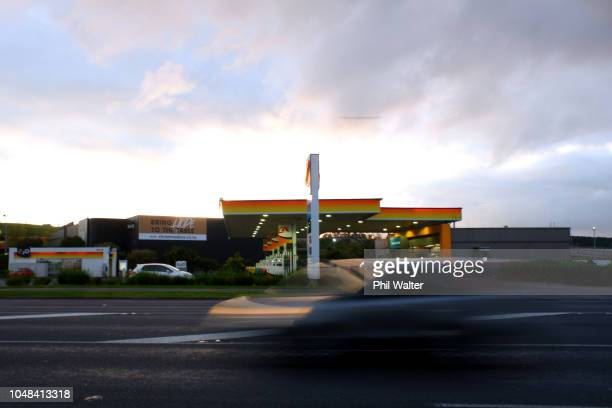 Shell petrol station is pictured on October 10, 2018 in Auckland, New Zealand. Debate over the cost of petrol continues following revelations almost...