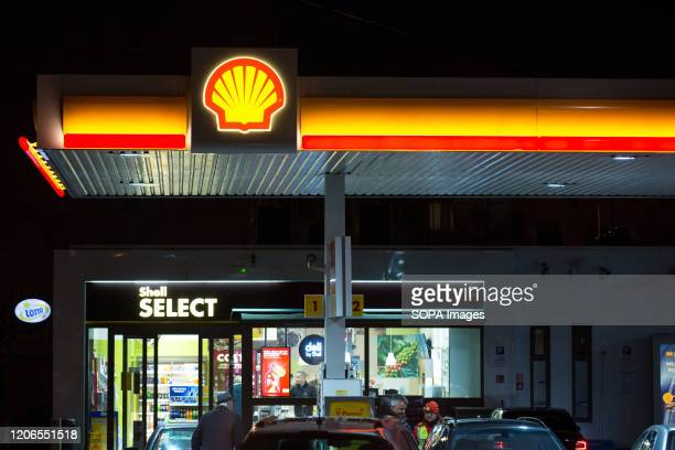 Shell petrol station logo.