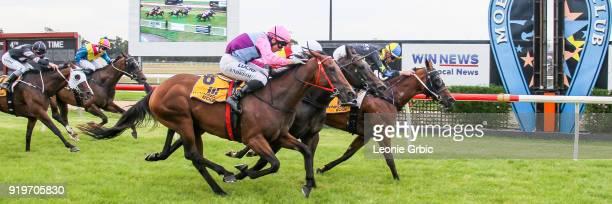She'll Strykeya ridden by Jye McNeil wins the helloworld BM64 Handicap at Moe Racecourse on February 18 2018 in Moe Australia