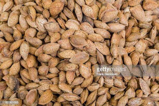 Shelled almonds Kabuklu Badem are offered for sale in the street markets in the suburb Kadköy located on the Asian side of town