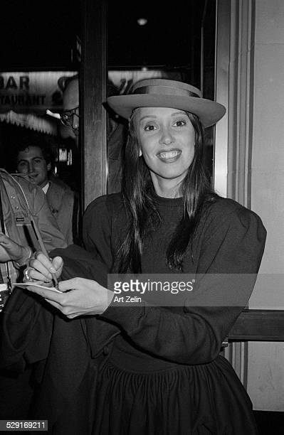 Shelley Duvall signing autographs; circa 1970; New York.