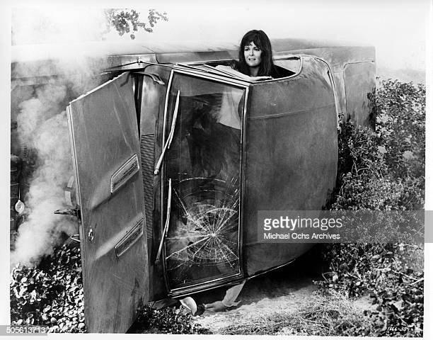 Shelley Fabares looks for help after a car crash in a scene from the movie A Time to Sing circa 1968