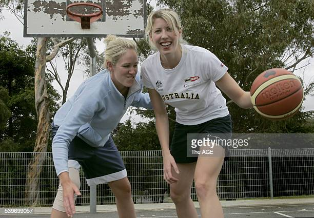 Shelley Hammonds tries to get around her flat mate Carly Wilson in a friendly bit of play 13th Jan 2006 THE AGE Picture by MICHAEL CLAYTONJONES