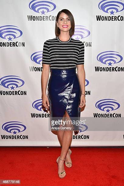 Shelley Hennig attends 'Unfriended' Cast and Filmmakers press line at Anaheim Convention Center on April 4 2015 in Anaheim California