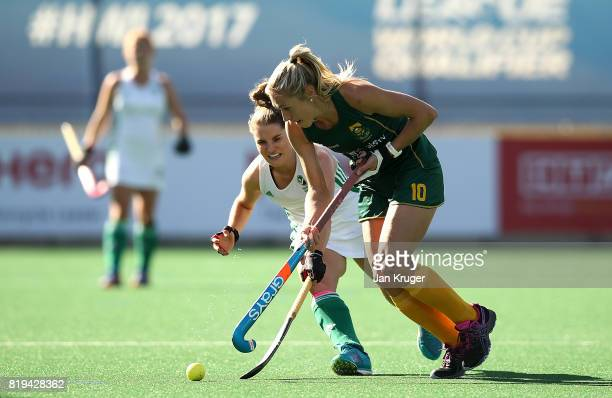 Shelley Jones of South Africa controls the ball from Emily Beatty of Ireland during the 5th/ 8th place playoff match between South Africa and Ireland...