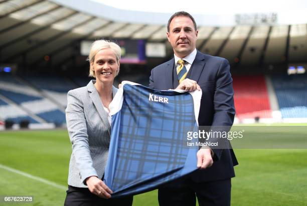 Shelly Kerr is seen with Malky MacKay as she is unveiled as Scotland Women's National Team Head Coach at Hampden Park on April 12 2017 in Glasgow...