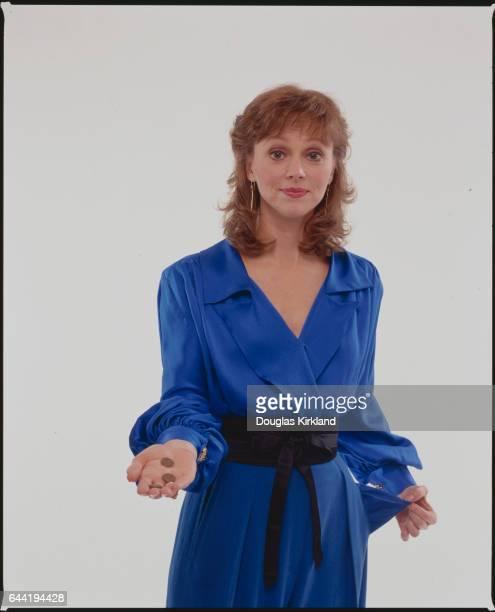 Shelley Long Wearing a Blue Dress