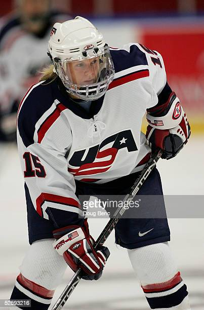 Shelley Looney of team USA skates against team Germany in a IIHF World Women's Championships preliminary game at the Cloetta Center on April 5 2005...