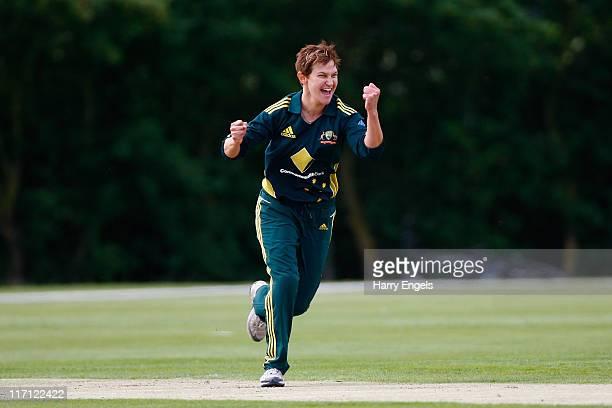 Shelley Nitschke of Australia celebrates taking a wicket during the NatWest Women's Twenty20 Quandrangular Series match between Australia and India...