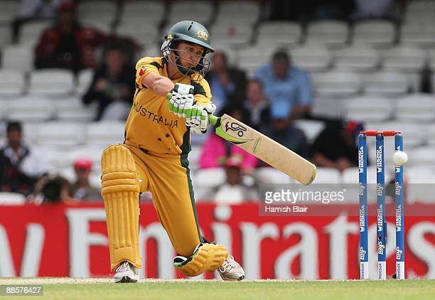Shelley Nitschke of Australia hits out during the ICC Women's World Twenty20 Semi Final between England and Australia at the Brit Oval on June 19,...