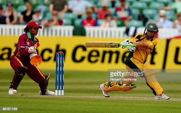Shelley Nitschke of Australia in action during the ICC Women's Twenty20 World Cup match between West Indies and Australia at The County Ground on...