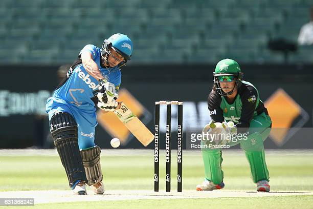 Shelley Nitschke of the Strikers plays a shot during the Women's Big Bash League match between the Melbourne Stars and the Adelaide Strikers at...