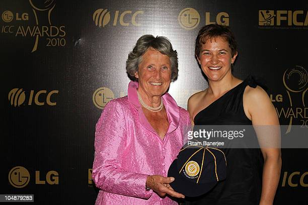 Shelley Nitschke winner of ICC Women's Cricketer of the Year 2010 with Rachel Heyhoe Flint ICC Hall of Fame winner during the ICC Annual Awards at...