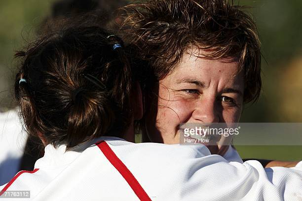 Shelley Rae of England gets a hug in celebration of an 180 win over USA during the Women's Rugby World Cup at Ellerslie Park on August 31 2006 in...