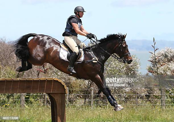 Shelley Ross on Coleraine Coaltown clears the table jump in the CCI three star during the Puhinui International Three Day Event on December 6 2014 in...