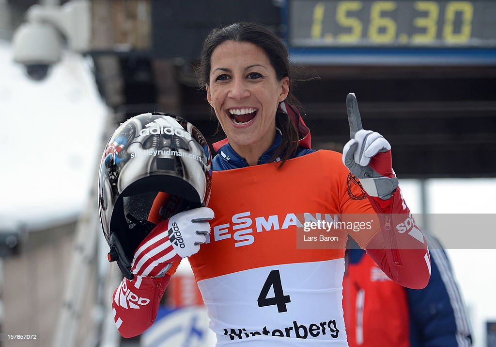 Shelley Rudman of Great Britain celebrates after winning the women's skeleton competition during the FIBT Bob & Skeleton World Cup at Bobbahn Winterberg on December 7, 2012 in Winterberg, Germany.