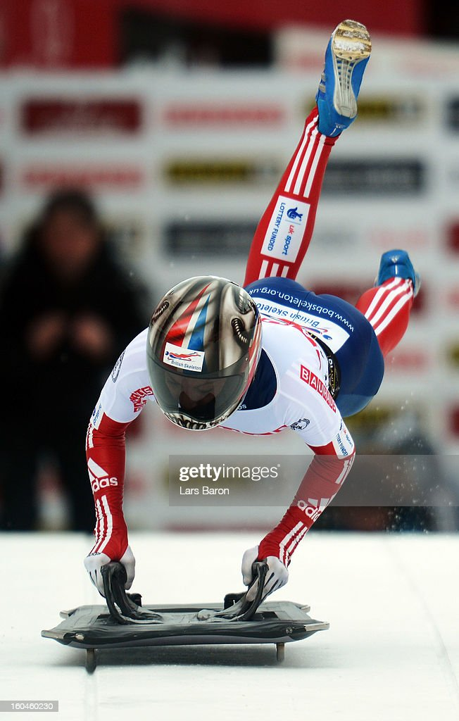 Shelley Rudman of Great Britain competes in the women's skeleton third heat of the IBSF Bob & Skeleton World Championship at Olympia Bob Run on February 1, 2013 in St Moritz, Switzerland.