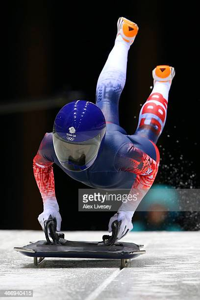 Shelley Rudman of Great Britain makes a practice skeleton run ahead of the Sochi 2014 Winter Olympics at the Sanki Sliding Center on February 5, 2014...