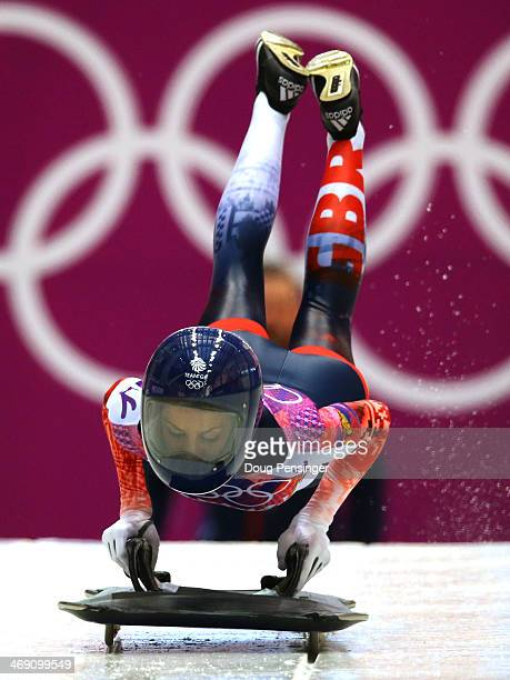 Shelley Rudman of Great Britain makes a run during the Women's Skeleton heats on Day 6 of the Sochi 2014 Winter Olympics at Sliding Center Sanki on...