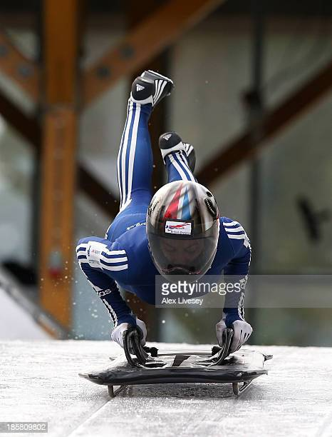 Shelley Rudman of the Team GB Skeleton Team in action during a training session on October 15, 2013 in Lillehammer, Norway.